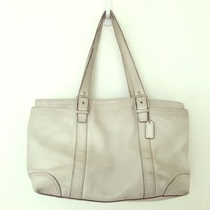 Coach large white leather tote bag